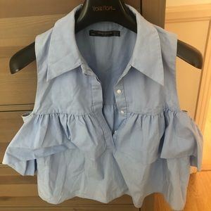 ZARA baby blue crop top